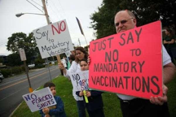Demonstrators against mandatory vaccination