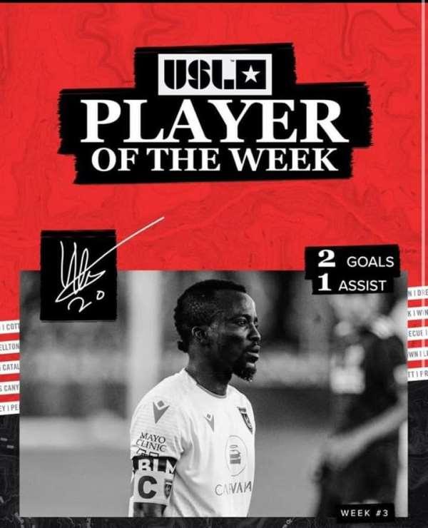 Solomon Asante Adjudged USL Championship Player Of The Week