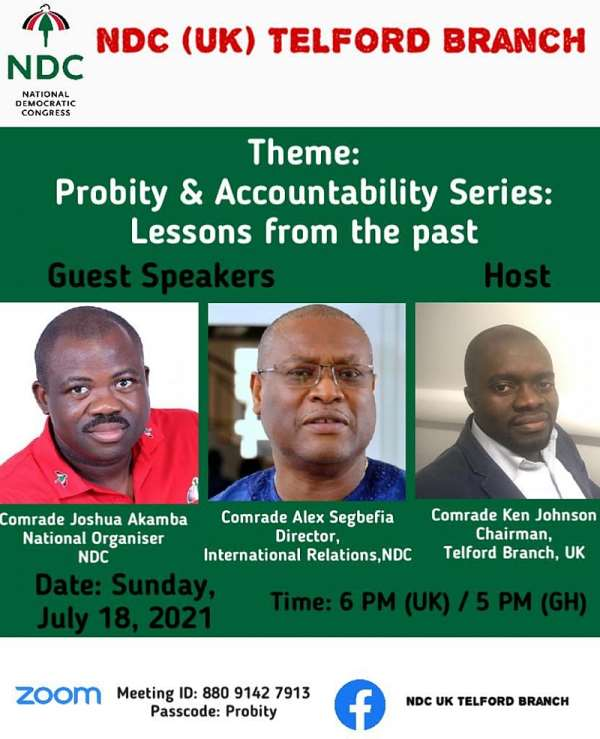 Akamba, Segbefia re-energise NDC-UK Telford branch at maiden edition of probity and accountability series