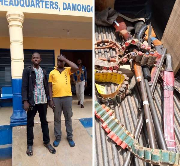 The two Suspects, Inusah Iddisah and Salifu Abubakar with the weapons