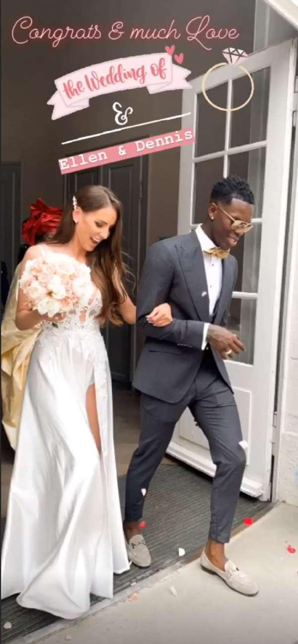 Extravagant dress, sunglasses and car parade. Basketball star Dennis Schröder married his girlfriend Ellen over the weekend