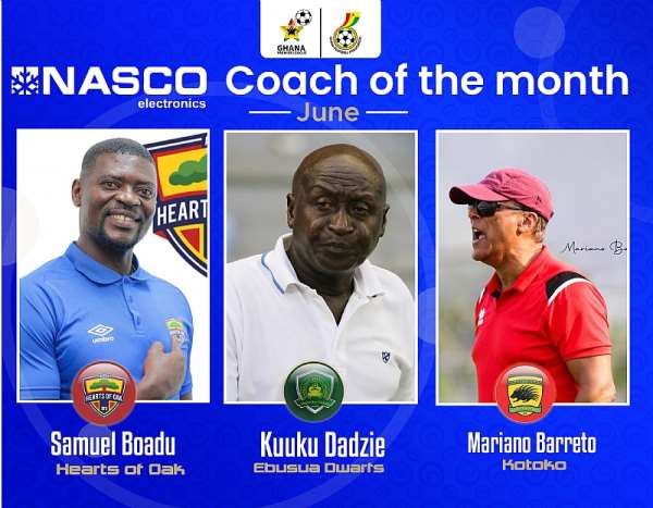 GHPL: Samuel Boadu, two others nominated for NASCO Coach of the Month award for June