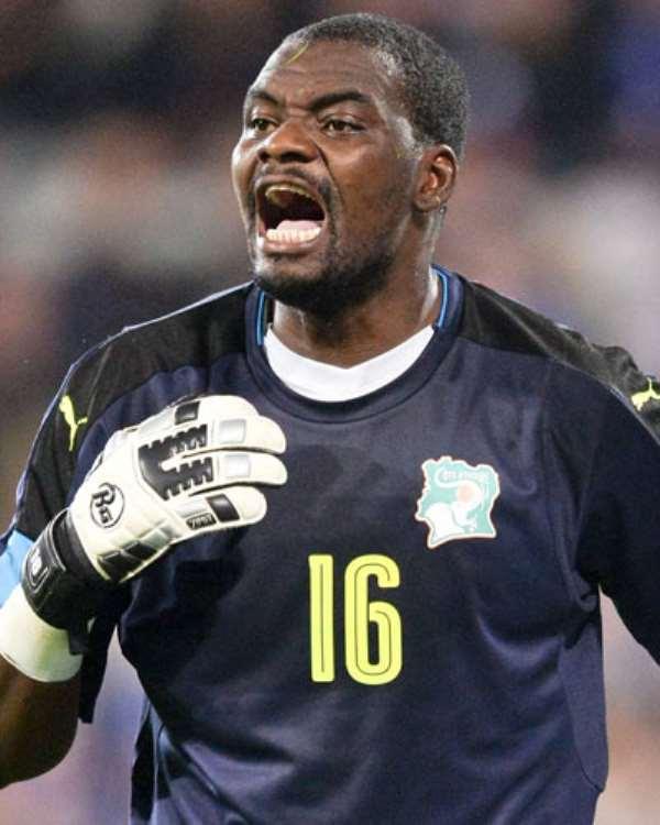 Ivory Coast goalkeeper Sylvain Gbohouo