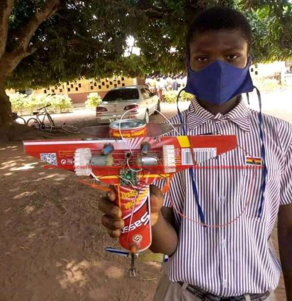 Atta Gad, a Junior High School (JHS) student makes airplane from empty cans