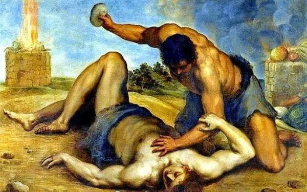 Cain killed Abel because of hate and jealousy. Paintwork by Gennaro Cucciniello