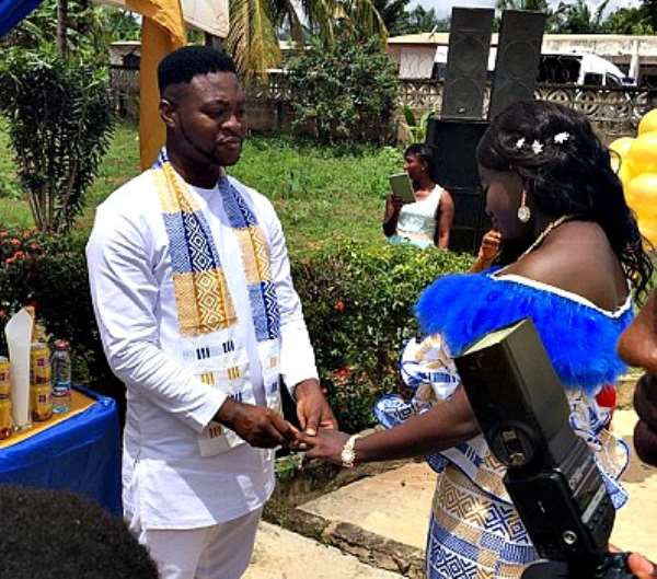 The Editor of ModernGhana news, Mr. William Beeko, and his bride, Angelina Acheampomaa