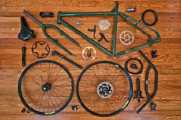 Dismantled bicycle parts