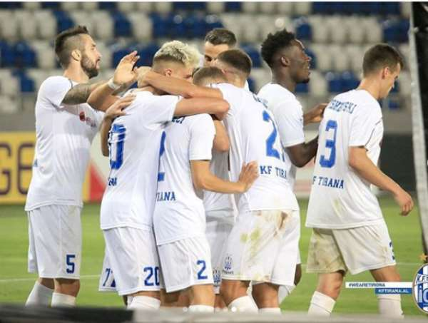 UCL Playoffs: Winful Cobbinah Plays Full Throttle For KF Tirana In 2-0 Win Against Dinamo Tbilisi
