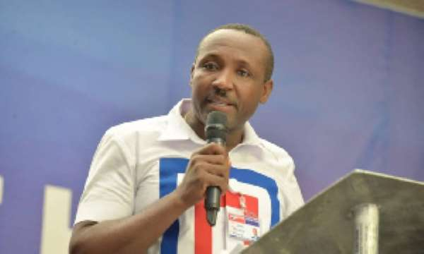 The General Secretary of the ruling New Patriotic Party (NDC) John Boadu speaking at the NPP 2020 Manifesto launch in Cape Coast