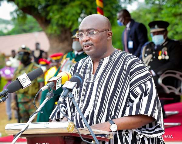 Vice President Mahamudu Bawumia speaking at the Graduation and Commissioning Parade for one hundred and fifty officer cadets