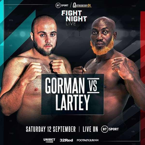 Ghana's Heavyweight Boxer Harrison Lartey Fights Nathan Gorman On Sept. 12