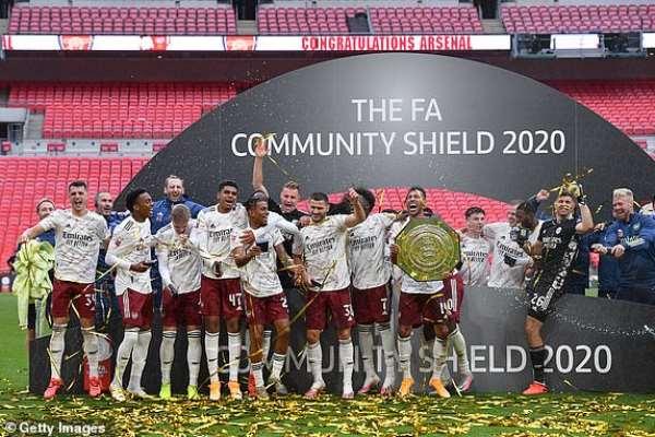 Arsenal celebrate Community Shield triumph