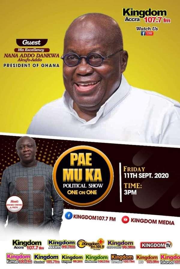 Kingdom FM Hosts President Nana Akufo-Addo LIVE On Friday At 3pm