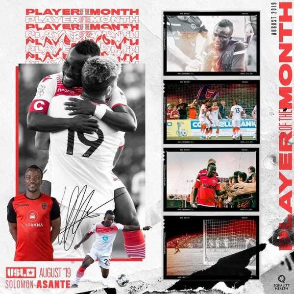 Phoenix Rising Captain Solomon Asante Wins USL August Player Of The Month Award