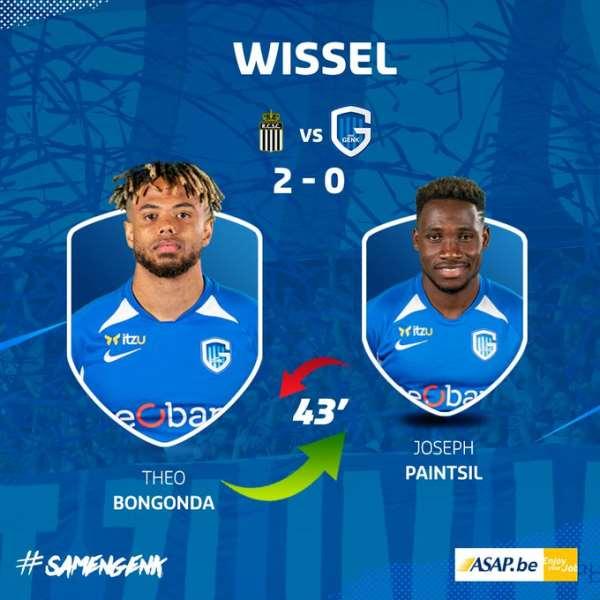 Joseph Paintsil Suffers Injury Setback In Genk's 2-1 Defeat To Sporting Charleroi