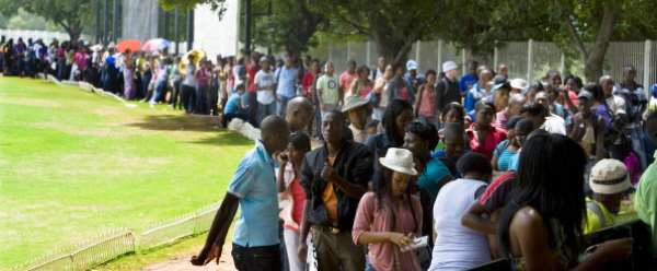 Young people wait to register at a South African university in 2012. They are bearing the brunt of high levels of  unemployment. - Source: Photo by Foto24/Gallo Images/Getty Images