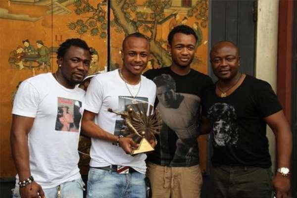 Rahim Ayew [L], Andre Ayew, Jordan Ayew and Abedi Pele Ayew, their father