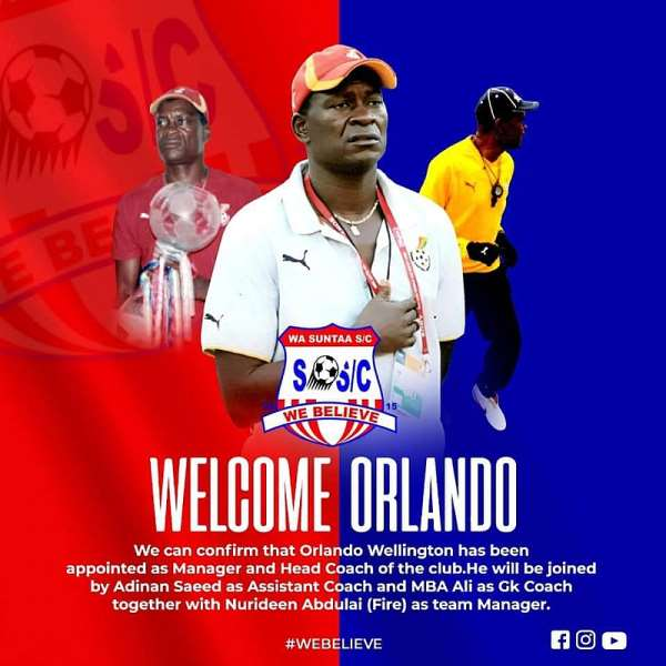 DOL Side Wa Suntaa SC Appoints Orlando Wellington As New Head Coach