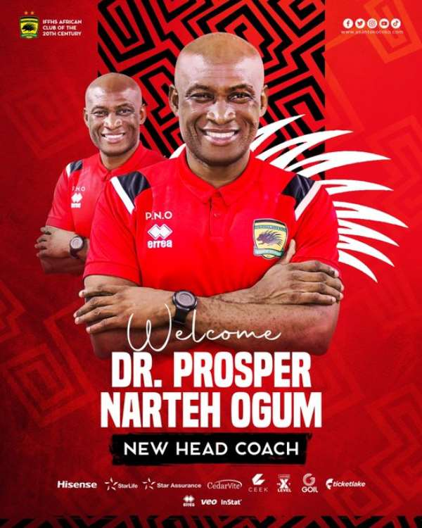 BREAKING NEWS: Asante Kotoko appoint Prosper Narteh Ogum as new head coach on a two-year deal