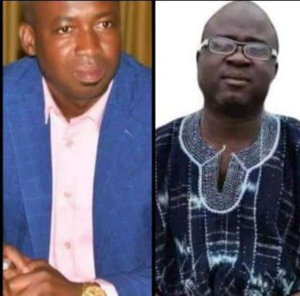 Outgoing DCE for Central Gonja on your immediate left, Hon. Mustapha Mahama and the new nominee on your immediate right, Mr. Iddrisu Salia Kamara.