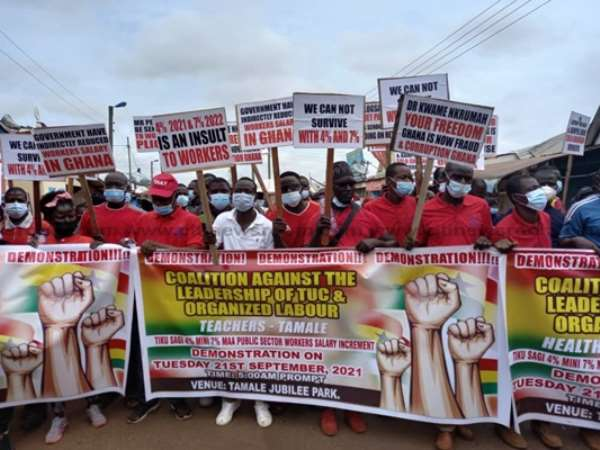 Group protest in Tamale over 'low' pay rise for public sector workers