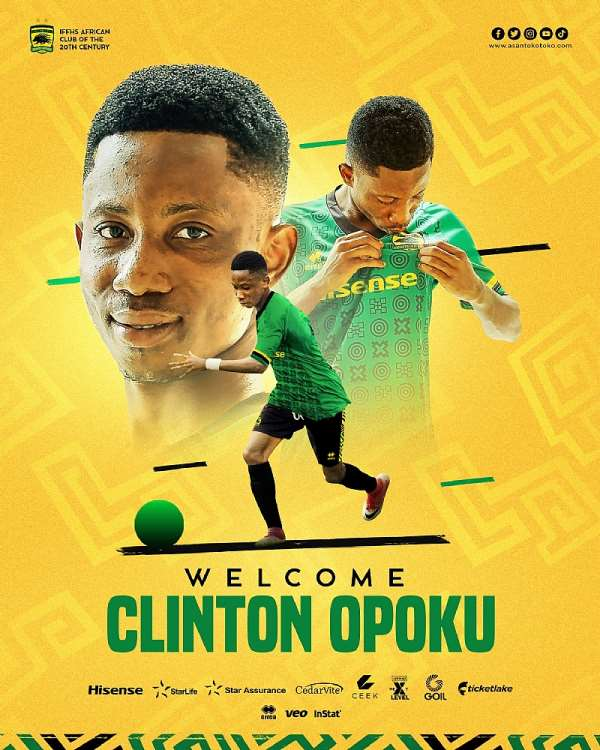 Asante Kotoko sign talented teenager Clinton Opoku on a 4-year deal