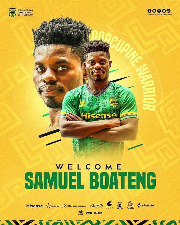 OFFICIAL: Asante Kotoko complete the signing of prolific striker Samuel Boateng