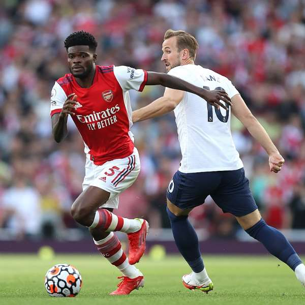 Thomas Partey in action against Spurs. Photo Credit/Arsenal Twitter