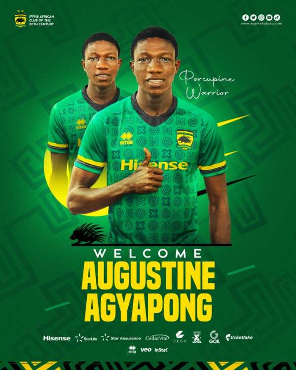Youngster Augustine Agyapong joins Asante Kotoko until 2025