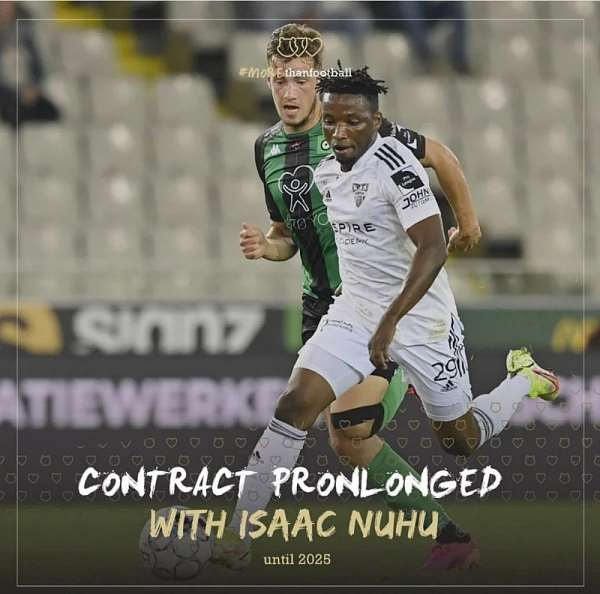 Talented Ghanaian youngster Isaac Nuhu signs new 3-year contract at KAS Eupen