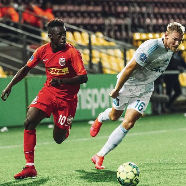Kamal-Deen Sulemana in action for FC Nordsjaelland against Lyngby BK today. Photo credit/FC Nordsjaelland