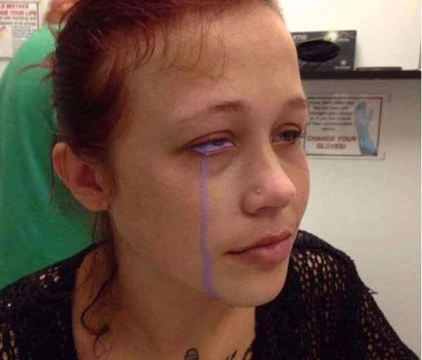 Botched Eyeball Tattoo Leaves Woman Crying Purple Tears