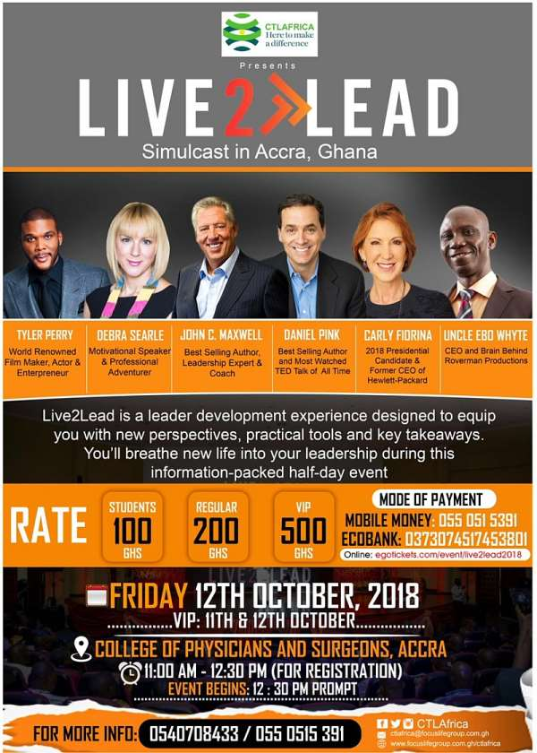 2nd Edition Of Live2Lead Leadership Conference Slated For 12, October 2018
