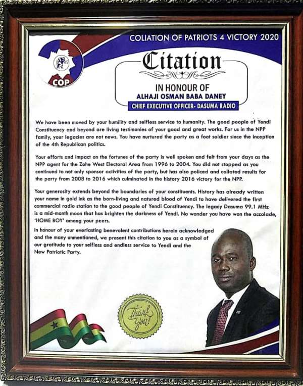 Coalition Of Patriots For Victory 2020 Honours Alhaji Baba Osman Daney
