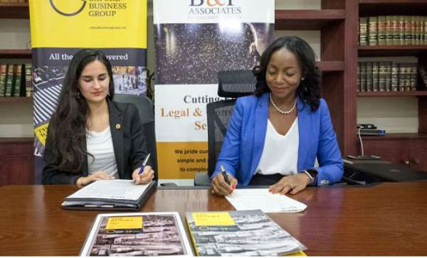 Emilie Bertincourt, country director for Oxford Business Group in Ghana, and Adelaide Benn eh Prempeh , founder and managin g partner, B&P Associates