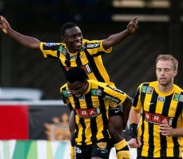 Abdul Majeed Waris is carried on the back of a Hacken teammate after scoring two goals
