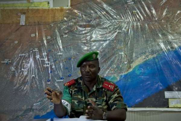 Deputy AMISOM force Commander, Brig. Gen. Audace Nduwumusi gives an interview in the Somalian capital.  By Tony Karumba (AFP)