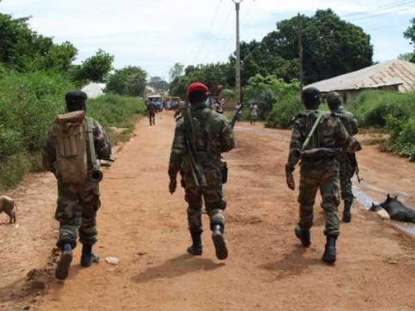 Soldiers patrol a street in Bissau on October 21, 2012.  By Str (AFP/File)