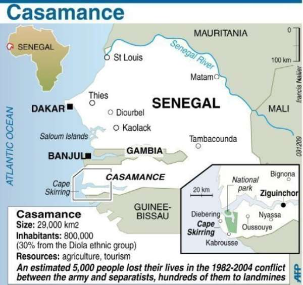Fighting between separatist rebels and Senegal troops left 13 people dead on Tuesday.  By Francis Nallier (AFP/Graphic)