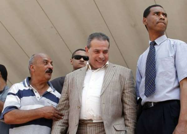 Tawfiq Okasha's Al-Faraeen TV channel has been stopped from broadcasting for a month..  By - (AFP)