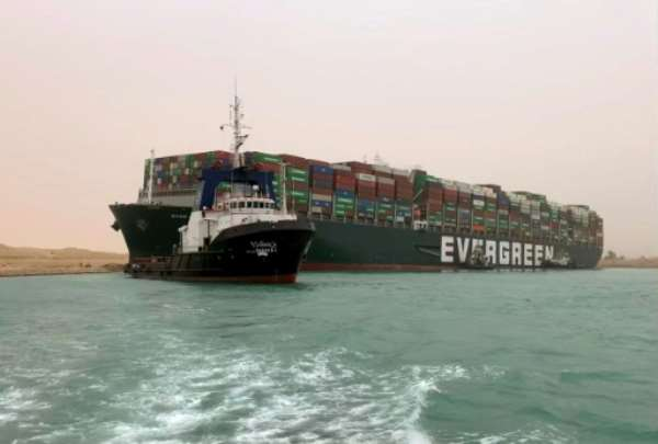 Egypt's Suez Canal Authority said it was working to refloat the MV Ever Given.  By - (Suez CANAL/AFP)