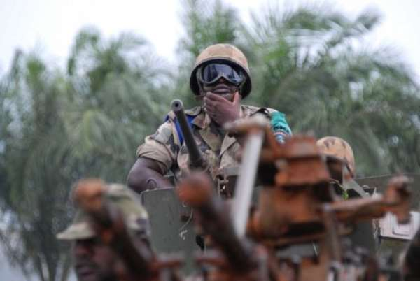A member of the Multinational Force of Central Africa (FOMAC) patrols on July 20, 2013 in Bangui.  By Xavier Bourgois (AFP/File)