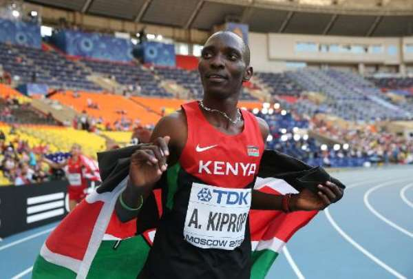 Kenya's Asbel Kiprop celebrates after winning the men's 1500 metres final at the 2013 IAAF World Championships in Moscow, on August 18, 2013.  By Franck Fife (AFP/File)