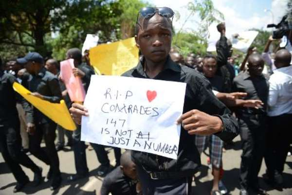 Kenyans take part in a march demanding greater national security on April 7, 2015.  By Simon Maina (AFP)