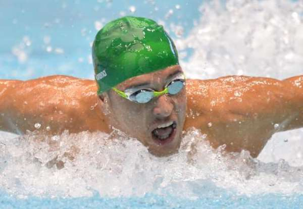 Chad Le Clos of South Africa swims in the men's 100m butterfly final at the FINA Swimming World Cup Tokyo meet in Tokyo on November 10, 2013.  By Kazuhiro Nogi (AFP)