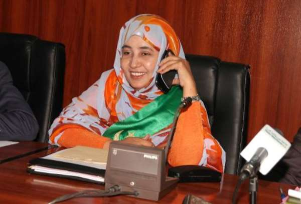 Former Mauritanian minister Maty Mint Hamady following her election on February 4, 2014, in Nouakchott.  By Ahmed Ould (AFP)