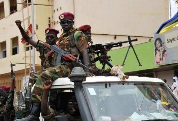 Armed Seleka rebels on a pickup truck in Bangui on March 30, 2013.  By Sia Kambou (AFP/File)