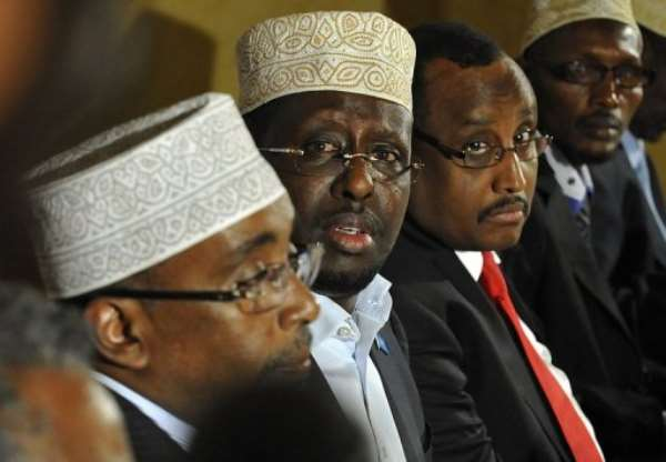 Transitional Federal Government of Somalia president Sheikh Sharif Ahmed (C) speaks.  By Simon Maina (AFP)