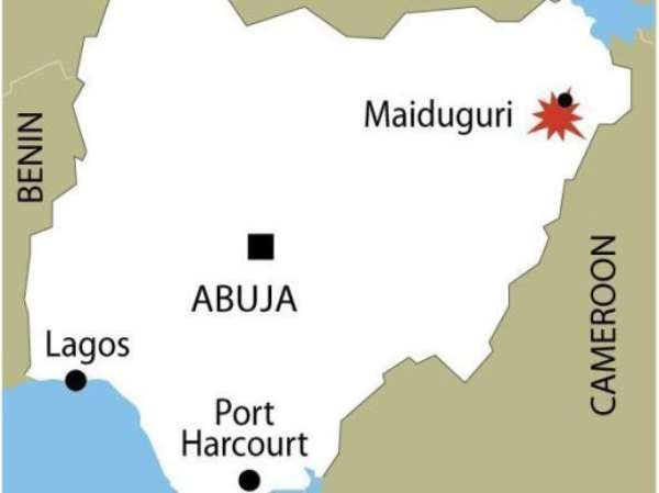 Map of Nigeria locating the violence-hit city of Maiduguri in the country's northeast.  By  (AFP/Graphic)
