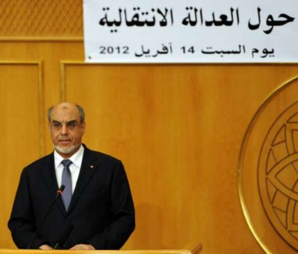 Tunisian prime minister Hamadi Jebali speaks at the opening of a conference.  By Fethi Belaid (AFP)